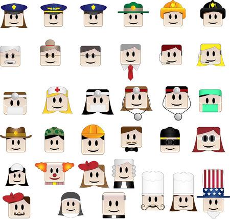diferentes profesiones: Conjunto de 34 iconos que representan diferentes profesiones,