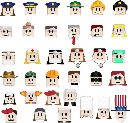 representing: Set of 34 icons representing different professions