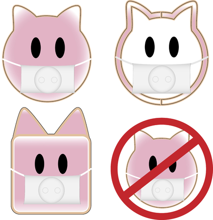 4 pig faces with swine flu Stock Vector - 5503855