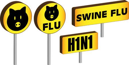 Four 3D Swine flu H1N1 Signs Stock Vector - 5503856