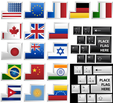 Black and White vector keyboards with 17 different keys as flags Vector