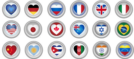 Set of 18 buttons of several countries heart shaped flags Vector