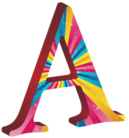 pink cap: Colored alphabet with stripes and stars Illustration