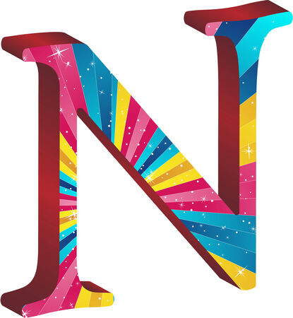 primary colors: Colored alphabet with stripes and stars Illustration