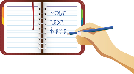 conventions: Hand writing on organizer page. Place your text here