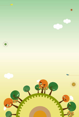 Retro Nature Layout with trees, birds and sky. Add your text. Vector