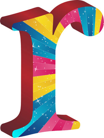 Colored alphabet with stripes and stars Vector