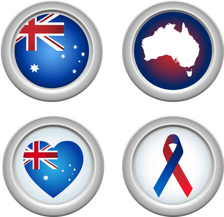 Australia Buttons with ribbon, heart, map and flag Vector