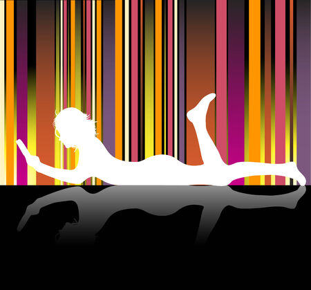 Silhouette of girl reading laying on the floor Vector