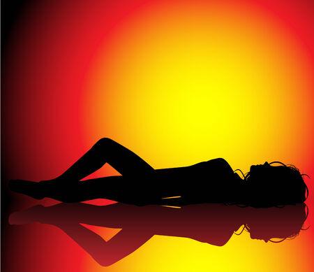 bathing suit: Silhouette of girl sunbathin on beautiful hot background