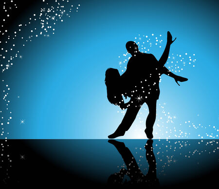 Couple dancing on blue background surrounded by sparkling stars Vector