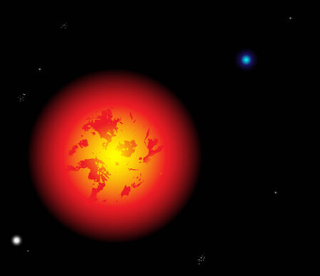 Beautiful sun vector with planets and stars Vector