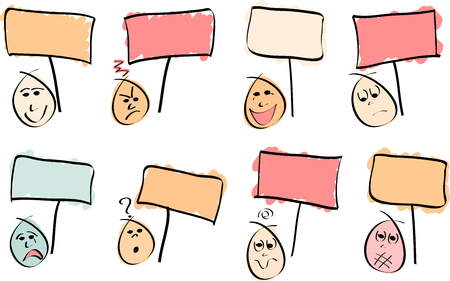 8 doodle vector faces with different expressions and sign boards. Vector Image Vector
