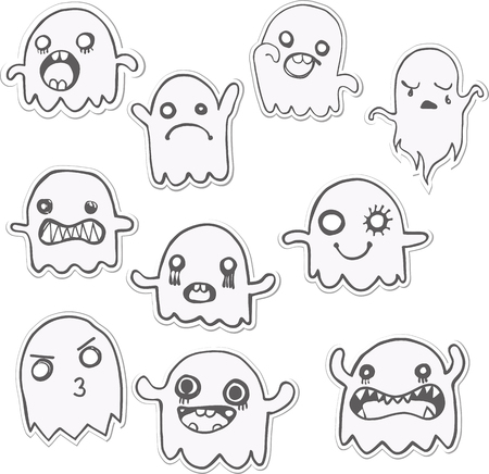 gravestone: Set of 10 Cute Ghosts Stickers. Vector Image
