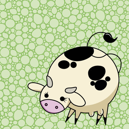 domesticated: Cute vector cow with texture background