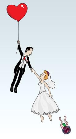 Vient de couple marié battant avec un coeur en forme de ballon. Image vectorielle très détaillée.