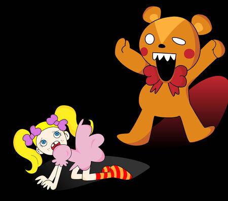 Little girl scared of giant teddy bear. Stock Vector - 5852829