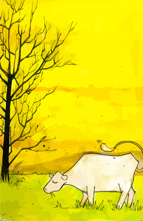 pastoral: High detailed hand drawn based illustration of a cow in a field.