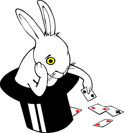 Bored white rabbit playing cards in magician hat.  Vector