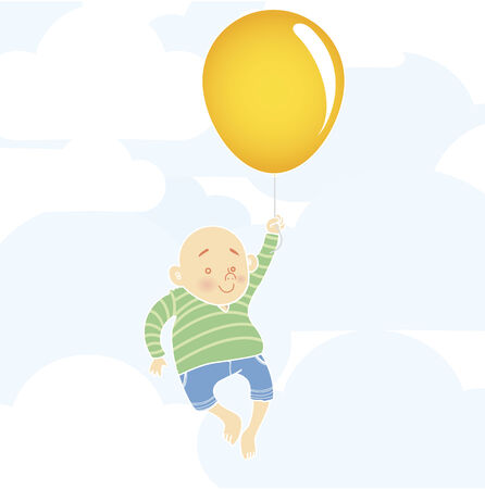 Chubby boy flying with huge orange balloon.  Vector