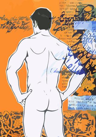 nude mann: Sexy nackt Mann auf Grunge-Hintergrund.  Illustration