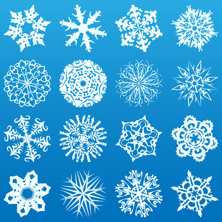 Set of 16 highly detailed complex snowflakes. Vector