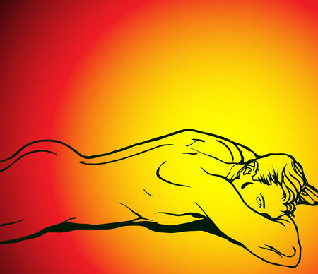 nude male: Silhouette of muscle boy on beautiful hot background Illustration