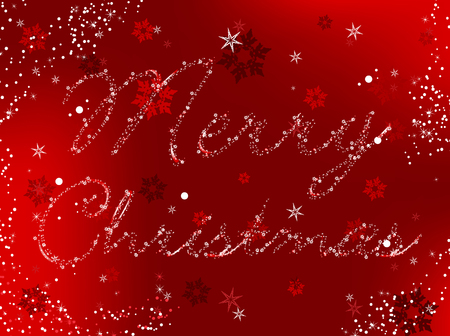 Merry Christmas Image written in snowflakes and stars Vector