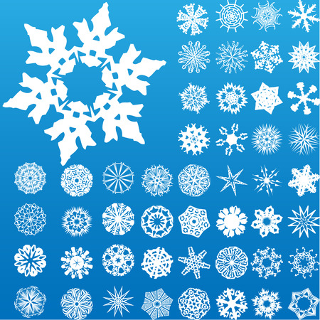 Set of 49 highly detailed complex snowflakes. Image Vector