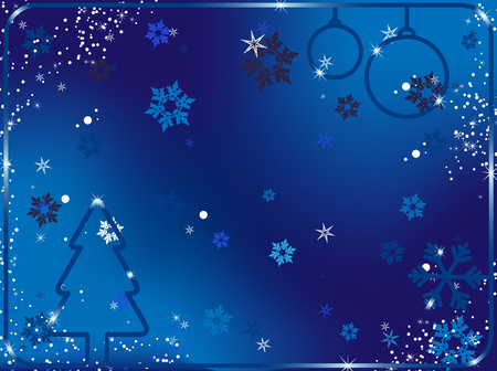 Merry Christmas Background with snowflakes and stars.Vector Image. Stock Vector - 5899464