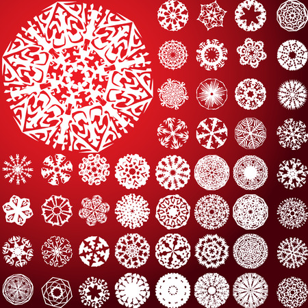 Set of 49 highly detailed complex snowflakes. Vector Image Vector