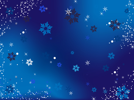 Merry Christmas Background with snowflakes and stars.Vector Image. Vector