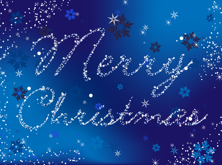 Merry Christmas Vector Image written in snowflakes and stars Vector