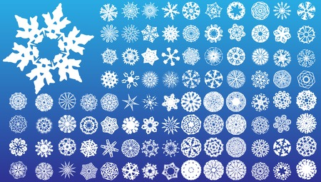 Set of 97 highly detailed complex snowflakes. Vector Image Vector