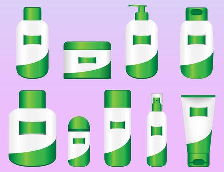 Set of 9 Bio Cosmetic Bottles. Editable Vectors Stock Vector - 6198424