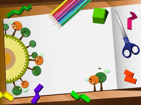 world class: 3D Paper Cut Ecology Desktop Background. Editable Vector Illustration