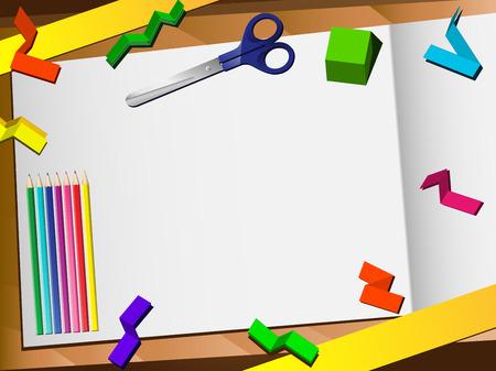 Document 3D coupe contexte Desktop. Vector modifiable