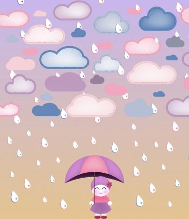 Cute girl under umbrella and rain. Vector Image