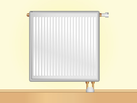 Vector Radiator on beige wall. Editable Vector Illustration