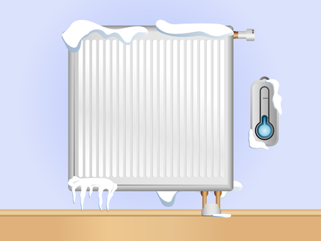 snow break: Broken Radiator with snow and ice. Editable Vector Illustration