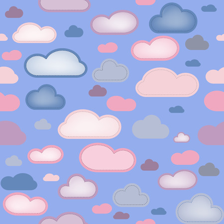 Pink and Blue Clouds Seamless Background. Editable Vector Image Vector