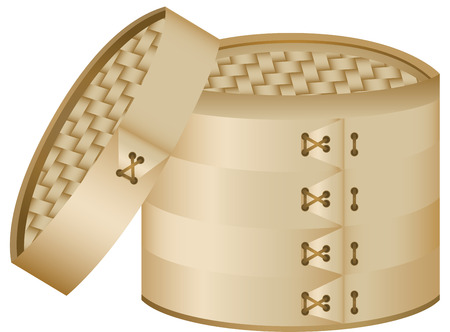 Bamboo Steamer. Cover can be placed on the steamer. Vector