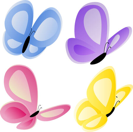 purple butterfly: Set of four elegant butterflies.