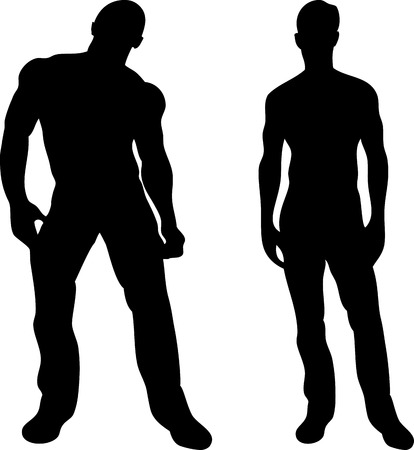 triceps: 2 sexy men silhouettes on white background.