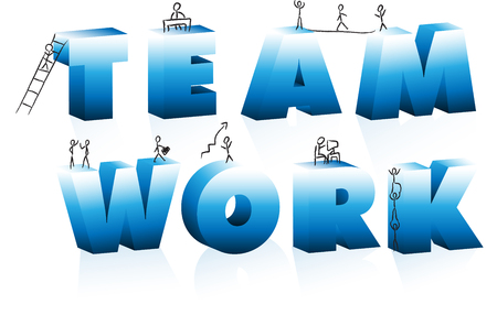 Doodle Cartoons Climbing Word Team Work. Stock Vector - 6244617