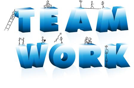 Doodle Cartoons Climbing Word Team Work. Vector