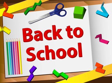 Back to School Desk with Scissors and Pencils. Editable Vector Image Vector