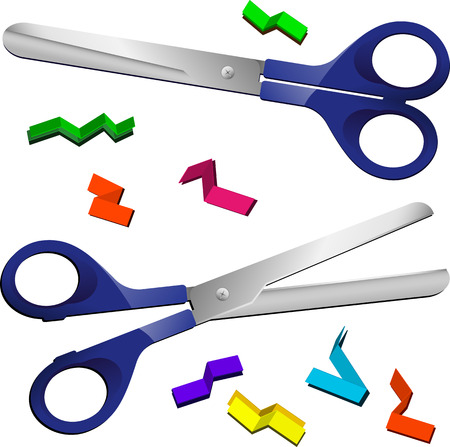 Two Scissors with cut paper pieces. Editable Vector Image Stock Vector - 6342371