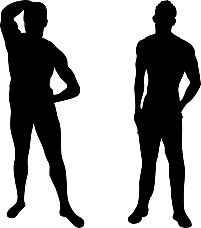 boy underwear: 2 sexy men silhouettes on white background. Editable Vector Image