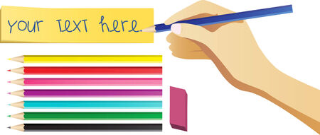 Hand writing on note with set of colored pencils. Editable Vector Image Vector